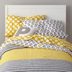 Bedding - Grey Yellow Peep Bedding | The Land of Nod - gray and yellow chick print bedding, gray and yellow kids bedding, gray and yellow striped and polka dot bedding,