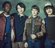 Lucas Sinclair, Mike Wheeler, Will Byers, and Dustin Henderson.