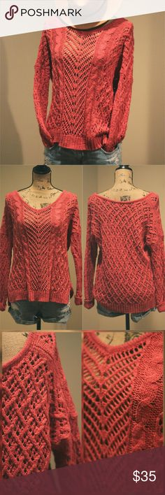 """""""Nifty Negotiation""""- Coral Open-knit Sweater Negotiate between comfort and style?... Hah! Not with this cozy open-knit pullover! - a cuddly piece from America Eagle, made special with a mixed motif of coral open-knit goodness, touting a deep coral hue, side slits, and an off-the-shoulder silhouette- this care-free sweater, is a fashionable offer you simply can?t refuse. ;) Like NEW condition! American Eagle Outfitters Sweaters V-Necks"""