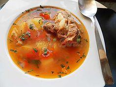 Bors din oase de porc   Pofta Buna! Romanian Food, Thai Red Curry, Ethnic Recipes, Soups, Pork, Kitchens, Soup
