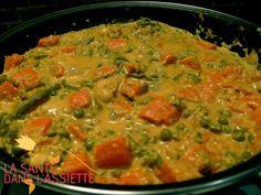 LEGUMES KORMA - 600 g de légumes (carottes, petits pois,   haricots verts, pommes de terre...)  - 2 oignons  - 1 gousse d'ail  - 1 cuillère à café de cumin  - 1 cuillère à café de curcuma  - 1 cuillère à café de fenugrec  - 1 cuillère à soupe de curry  - un morceau de gingembre  - les graines de 2 cardamomes réduites    en poudre  - 60 g de noix de cajou  - 20 cl de lait (ou lait végétal)  - une cuillère à soupe de coulis de tomates  - huile d'olive  - un peu d'eau  - sel, poivre