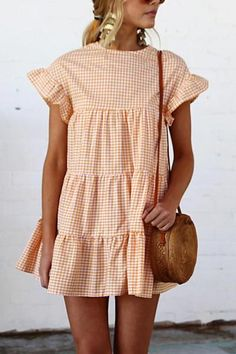 Frigirl Round Neck Flared Sleeves Fold Mini Dress