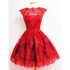 Fashionable Round Collar Cap Sleeve Lace A-Line Dress For Women