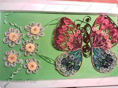 Картина панно рисунок Квиллинг Ромашки и бабочка Бумага Картон фото 1