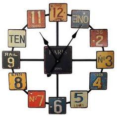 Rustic Metal Vintage License Plate Colored Metal Wall Clock