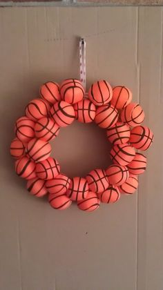 Basket Ball Crafts For Coaches Seasons 30 Ideas Basketball Baby Shower, Sports Wreaths, Baseball Wreaths, Sport Craft, Minion Party, Christmas Door Decorations, Sewing Baskets, Coach Gifts, Diy Wreath