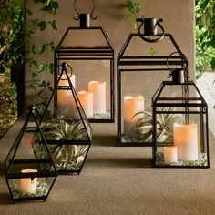 Eldridge Triangle Lantern - Black Small - Glass - Home Decor Candle Ideas