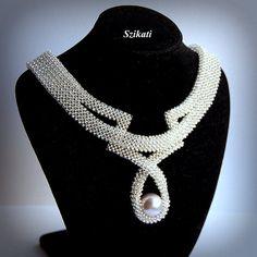Weiße Perle/Seed Anweisung Halskette Braut Halskette von Szikati
