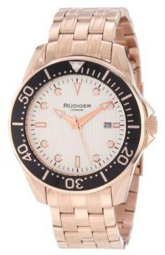 Relógio Rudiger Men's R2000-09-001 Chemnitz Rose Gold IP Silver Luminous Dial Watch #Relógio #Rudiger