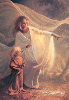 Jesus Christ Heavenly Hands by Greg Olsen - Christian Art Angels Among Us, Greg Olsen Art, Angel Gif, Angel Quotes, Jesus Christus, I Believe In Angels, Lds Art, Angel Pictures, Angel Images