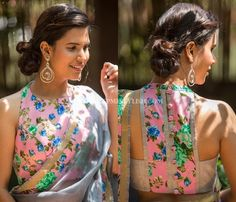 Looking for blouse designs to wear with your plain sarees? Here are 30 creative designer blouse models you can wear with your plain sarees! Elegant Designer Indian Saree Click visit link above to find out Saree Blouse Patterns, Sari Blouse, Saree Blouse Designs, Floral Blouse, Blouse Back Neck Designs, Saree Styles, Blouse Styles, House Of Blouse, Modern Saree