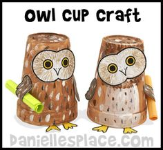 Crafts for Kids - Owl Paper Cup Craft for Kids from www.daniellesplace.com