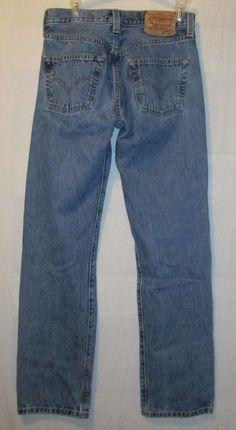 Levis 501 Button Fly Blue Denim Jeans Tag Size 29x32 Stonewashed Actual 28x31 #Levis #ClassicStraightLeg