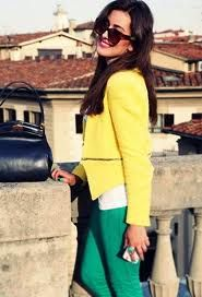 Discover this look wearing Yellow Zara Jackets, Chartreuse Closed Jeans, Navy Dior Bags - Lemon in Florence, Italy by hugyou styled for Chic, Everyday in the Summer Teal Pants, Yellow Blazer, Amarillo Color, Spring Outfits, Winter Outfits, Green Jeans, Zara Jackets, Colourful Outfits, Summer Looks