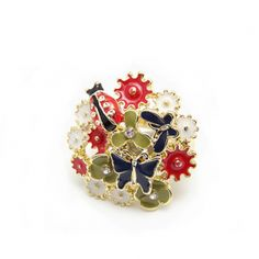 Floral Butterfly Lady Bird Fashion Ring $10.40