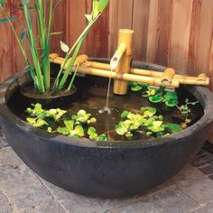 This Adjustable Pouring Bamboo Fountain is handcrafted and cast in the lost wax method. Unlike imitation items made from less expensive materials, quality long-lasting outdoor grade resin spouters can be expected to last for generations. Patio Pond, Small Backyard Landscaping, Ponds Backyard, Landscaping Ideas, Backyard Ideas, Concrete Backyard, Garden Ideas, Mulch Landscaping, Landscaping Software