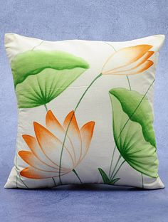 Buy Cotton Green-Orange-Ivory Hand-Painted Lotus Cushion Cover 16in x 16in Online at Jaypore.com