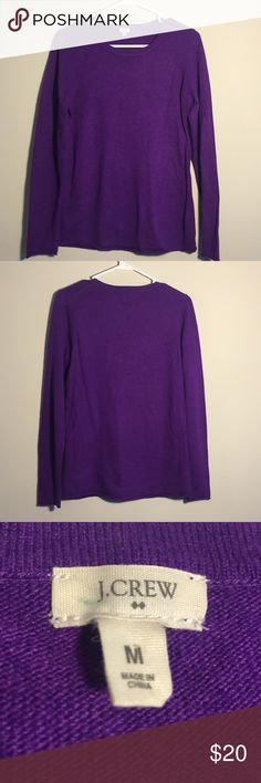 Purple J.Crew Wool Crewneck Very soft and warm! Size M, runs true to size but just never looked right on me. Worn fewer than 5 times and in great condition. 37% viscose, 35% nylon, 28% laine de merinos. J. Crew Sweaters Crew & Scoop Necks