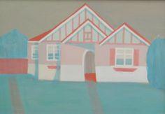 Saskia Leek Home Icon, 3 Arts, Level 3, Landscape Paintings, New Zealand, Buildings, Houses, Icons, Illustration