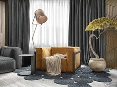 http://boomzer.com/modern-kiev-home-construct-creative-and-natural-stuff/soft-structured-armchair-light-wood-flooring-grey-curtains-and-white-curtains-grey-suede-sofa-standing-lamp-cream-curved-wood-paneling-green-plants-visualizer-bim-group/