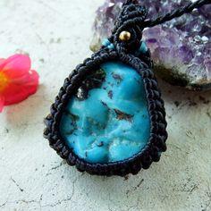 Macrame Necklace Pendant Raw Freeform Turquoise Stone Cotton Waxed Handmade #Handmade #Wrap