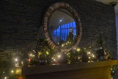 Our fireplace in the lobby all decorated for the festive season