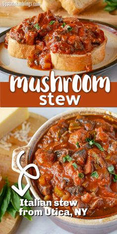This Italian mushroom stew is a rustic stew that is traditional to Utica, NY. This recipe is made with pork, Italian sausage, tomato sauce and lots and lots of mushrooms. Served over Italian bread it is delicious comfort food! Sausage Mushroom Recipe, Mushroom Stew, Mushroom Recipes, Stewed Tomato Recipes, Stewed Tomatoes, Pork And Tomatoes Recipe, Italian Stew, Italian Bread, Tomato Paste Recipe