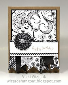 Completely stamped! White Daisy, Black and Kraft CS with one stamp set!  LOVE it!  Vicki is Brilliant!!!