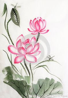 Lotus and dragonfly stock illustration. Illustration of lotus - 36824784 -You can find Lotus and more on our website.Lotus and dragonfly stock illustration. Illustration of lotus - Watercolor Lotus, Lotus Painting, Fabric Painting, Watercolor Flowers, Watercolor Paintings, Lotus Kunst, Lotus Art, Flower Sketch Pencil, Flower Sketches