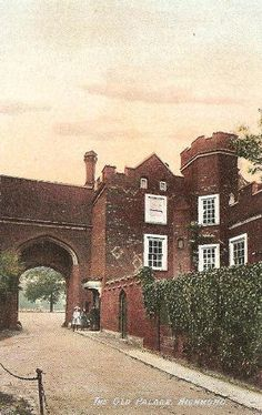 By the century all that remained of the palace was the gate house and the wardrobe. The gateway still faces Richmond Green, with Henry VII's arms above, although the stone is much defaced. Richmond Palace, Richmond Green, Gate House, Palaces, Surrey, Tudor, 18th Century, Painting, Palace
