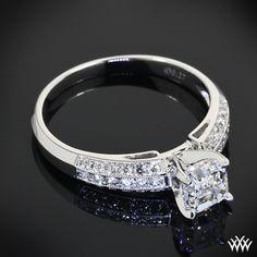 Asscher delight, Three Row Pave Diamond Engagement Ring with 1.00ct Asscher Cut Diamond