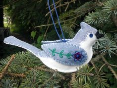 Tufted Titmouse wool blend felt ornament by PatriciaWelchDesigns