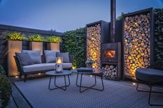 Stadstuin, Knops Tuindesign, the art of living Modern Outdoor Fireplace, Backyard Fireplace, Cozy Backyard, Outdoor Living, Backyard Landscaping, Back Garden Design, Terrace Design, Patio Design, Garden Architecture