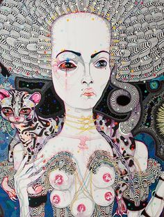 Del Kathryn Barton: satellite fade-out, 2011 Australian Painting, Australian Artists, Del Kathryn Barton, Painting Collage, Feminist Art, Indigenous Art, Whimsical Art, Oeuvre D'art, Lovers Art