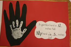 "Measuring and comparing students' hands to the size of a gorilla's. Im going to do this with the story ""Will We Miss Them"" about endangered animals. I do a rainforest theme for open house and this is great. I think I will Add a little red heart in the center of the childs handprint."