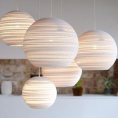 Graypants Moon Pendant Lamp Design The Moon pendant by Graypants emits a soft, glare-free light that creates a warm and welcoming atmosphere for any space and occasion. The corrugations of… Ceiling Rose, Ceiling Lights, Balloon Ceiling, Ceiling Light Shades, White Ceiling, Ceiling Ideas, White Pendant Light, White Pendants, White Light