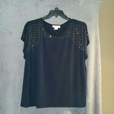 MK top The new navy color very elegant top will look good with Jean or dress pant,studs across the top. Michael Kors Tops