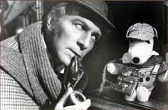 "Christopher Plummer    Publicity shot for the 1979 movie ""Murder by Decree""  (Snoopy had appeared as ""Sherlock Holmes"" in the 1974 cartoon ""It's a Mystery Charlie Brown"". Outfits for Snoopy as ""Sherlock"" were released as a result. The one shown here was made specifically for this photo.)"