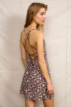 Urban Renewal Lace-Up Back Mini Dress - Urban Outfitters