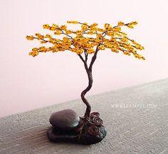 Orange yellow autumn beaded wire tree sculpture door ErikaKavali