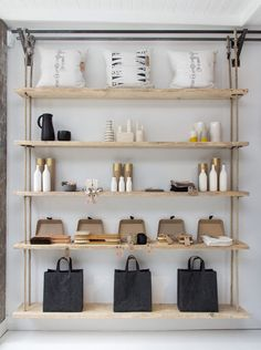 Absolutely LOVE these wall panel shelves, made from reclaimed floorboards and scaffolding planks.