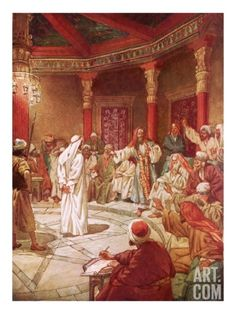 Jesus Brought before Caiaphas and the Council Giclee Print by William Brassey Hole at Art.com