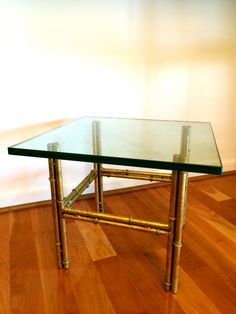 Vintage Italian Gold Gilt Faux Bamboo Glass End Table Hollywood Regency Mid Century Modern