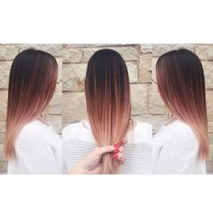 Rose gold brown and blonde ombre balayage