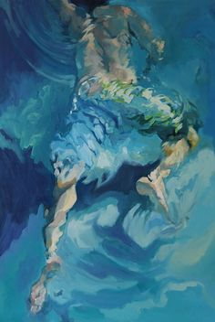 ღ❤️Turquoise lovely color❤️ღ underwater swimmer figure painting} Athletic ! Underwater Painting, Animation, Gay Art, Life Drawing, Portrait Art, Figure Painting, Figurative Art, Amazing Art, Art Drawings