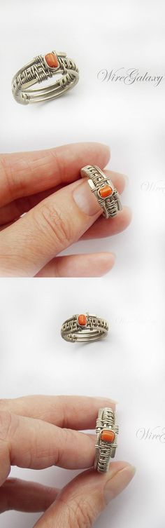 #wirering #wirewrap #weavring #wrapped #coralring #Contemporaryring #etsyfinds #etsyseller #etsygifts #etsyring #coral #wirejewelry Wire Jewelry Rings, Handmade Wire Jewelry, Wire Jewelry Designs, Metal Jewelry, Jewelery, Diy Rings, Wire Wrapped Rings, Jewelry Making, Ring Making