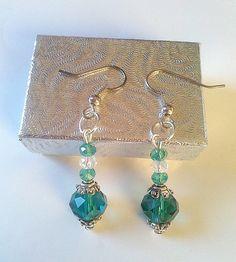 Pretty+green+beaded+dangle+earrings+by+KaisCards+on+Etsy,+£5.00
