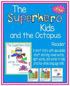 This is an 8-page full color decodable reader, with a teacher's guide included.  The book is heavy on decodable short and long vowel words, sight words, and words that help develop whole language skills.  Please message me if you have any questions.  Enjoy!-KendraKendra's KindergartenIf you enjoy this book, download my Superhero Book, Comprehension, and Activity Pack, which includes this book, along with a black and white version, a student written version (the student creates the villain)…