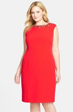 Eliza J Embellished Cap Sleeve Crepe Sheath Dress (Plus Size)