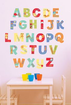 A is for Alphabet Wall Decals, educational decor for a girls or boys toddler bedroom or playroom
